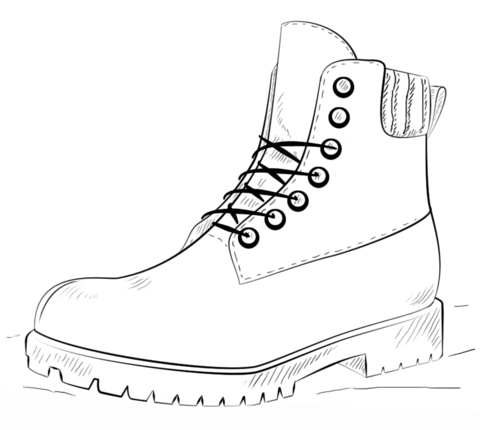 Hiking Boot coloring page from Clothes and Shoes category Select