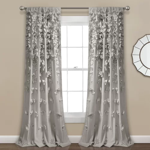 Clarkstown Floral Semi Sheer Rod Pocket Single Curtain Panel Panel Curtains Lush Decor Colorful Curtains