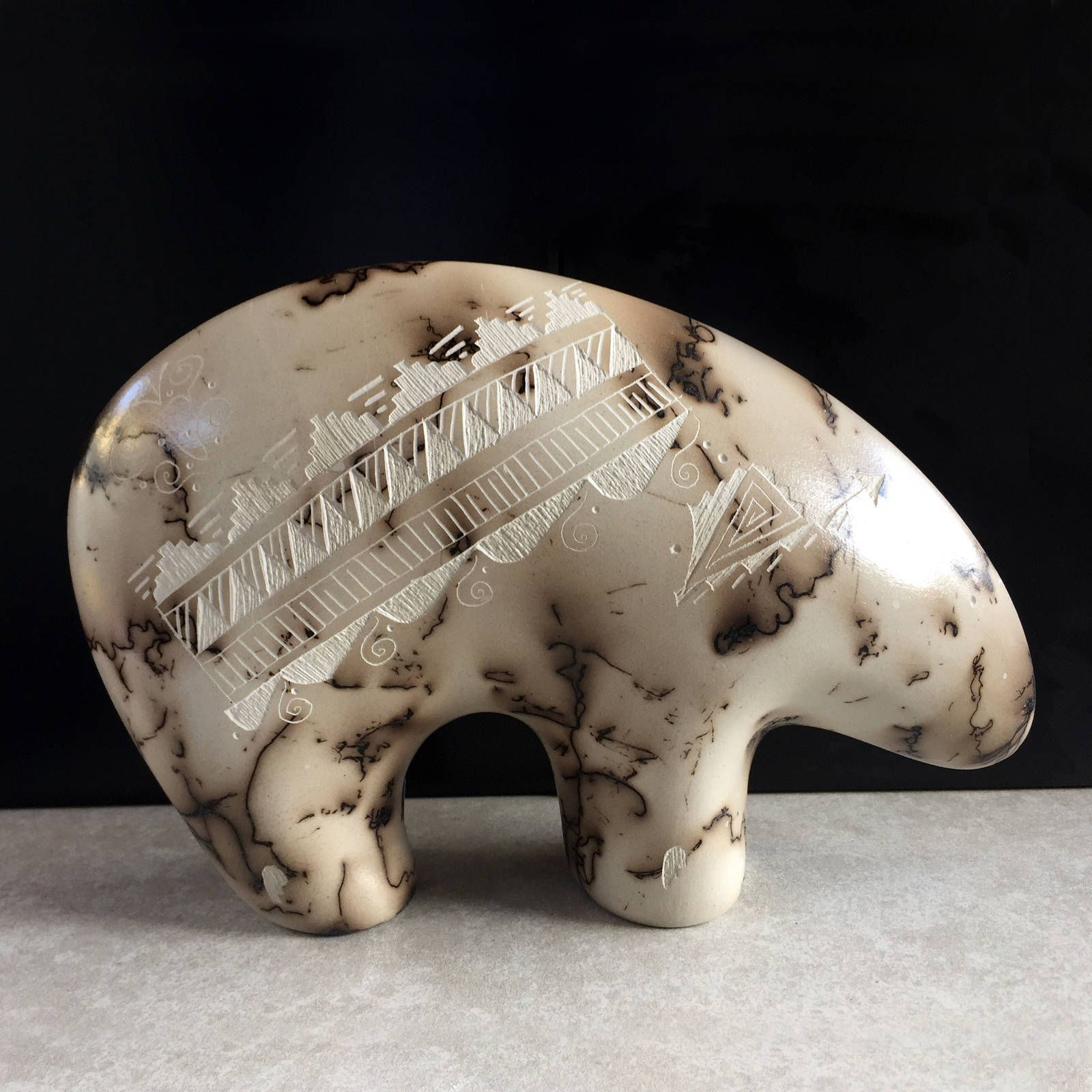 Vintage carved stone sheep ram sculpture navajo native american