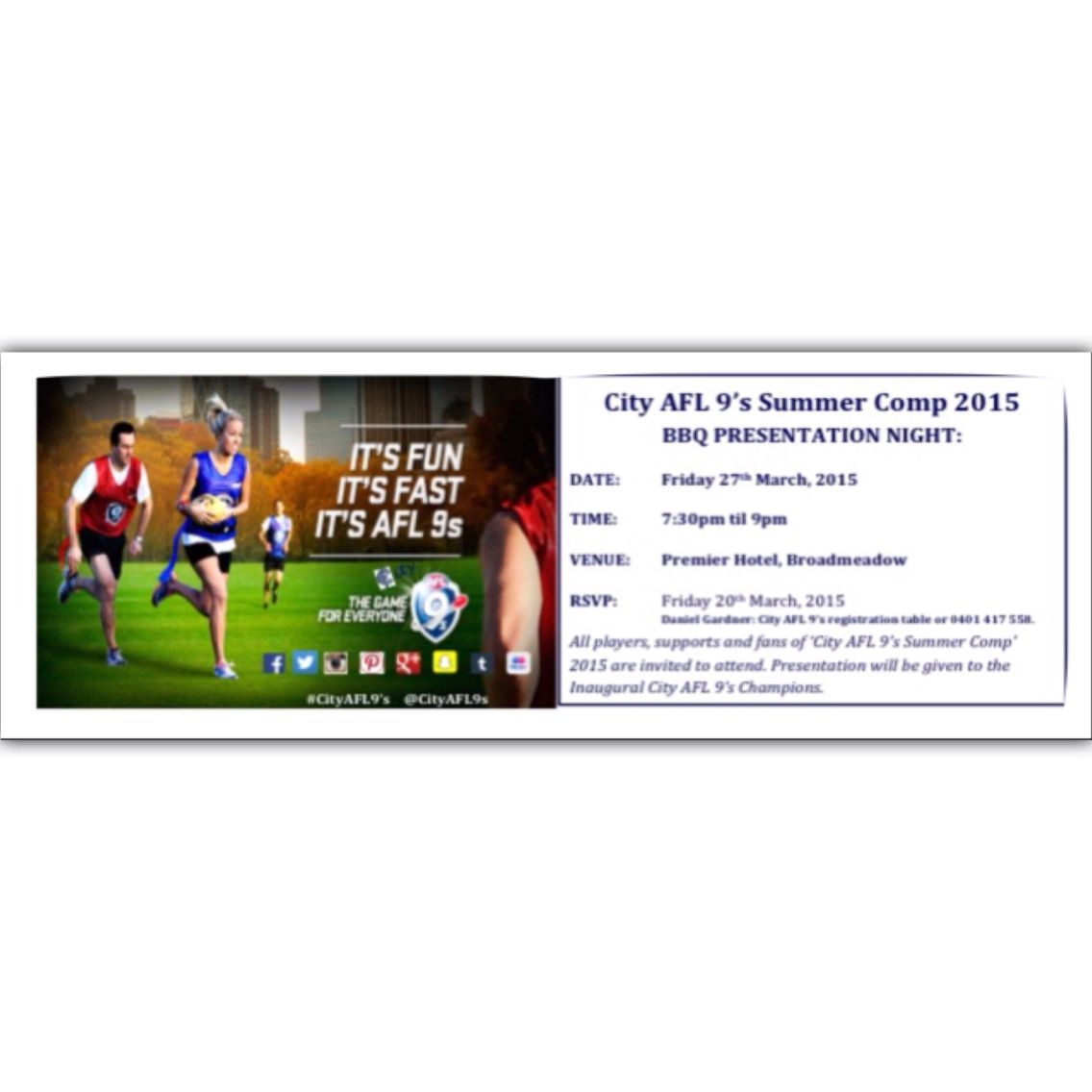 City AFL 9's Summer Competition 2015: BBQ Presentation for the 2015 City AFL 9's Summer Competition. Friday 27th March 7:30pm til 9pm at Premier Hotel, Broadmeadow. All players, supports and friends are welcome. Please RSVP for catering purposes. #CityAFL9s @CityAFL9s