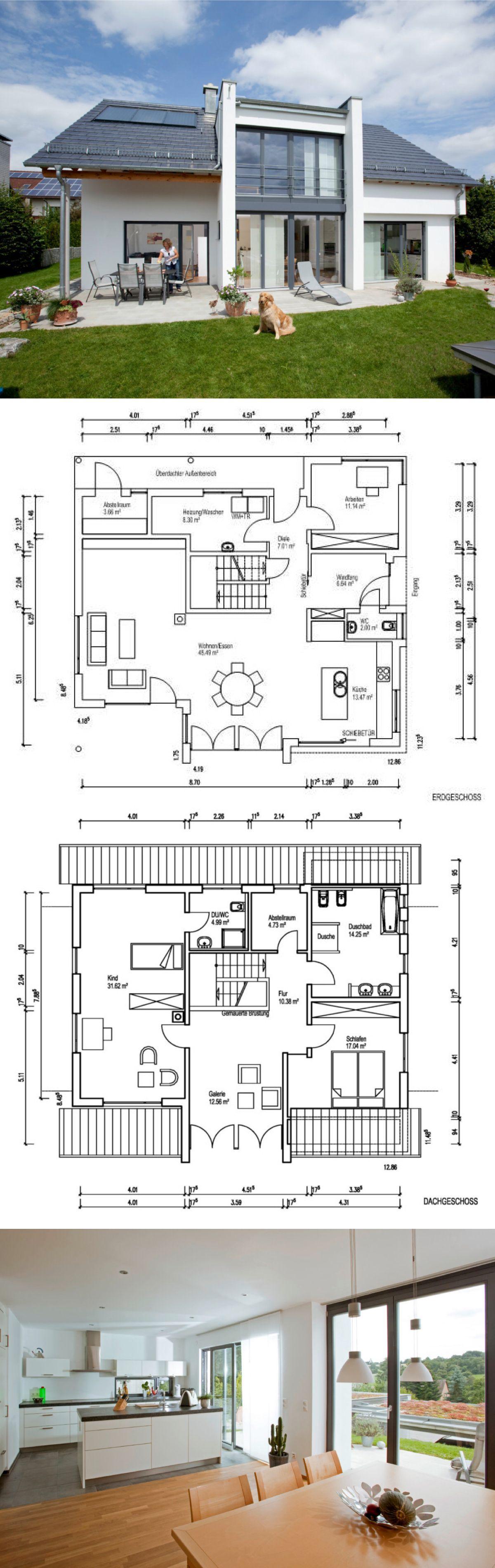 Einfamilienhaus Neubau Modern Mit Satteldach Architektur, Galerie U0026 Kamin    Hausbau Ideen Grundriss Fertighaus Leitner