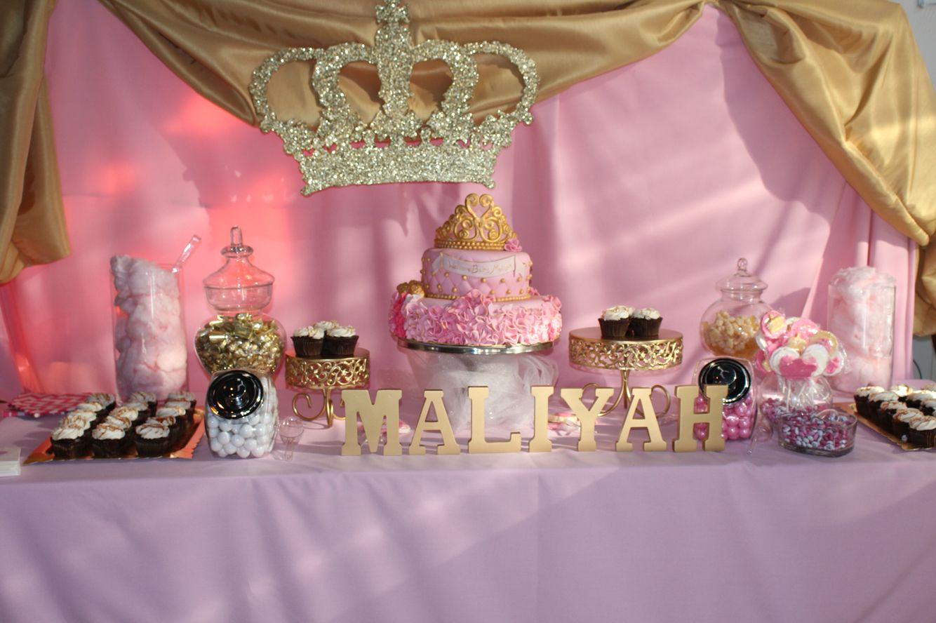Candy Buffet Pink Gold And White Baby Shower Royalty Theme  Partycreationsnycom -4523