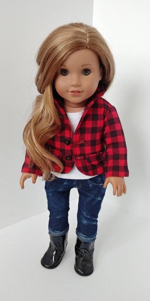 18 inch doll clothes. Fits like American girl doll clothes. 18 inch doll clothing. Red buffalo plaid blazer #18inchdollsandclothes
