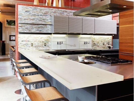 Bright and Modern kitchen with unique backsplash