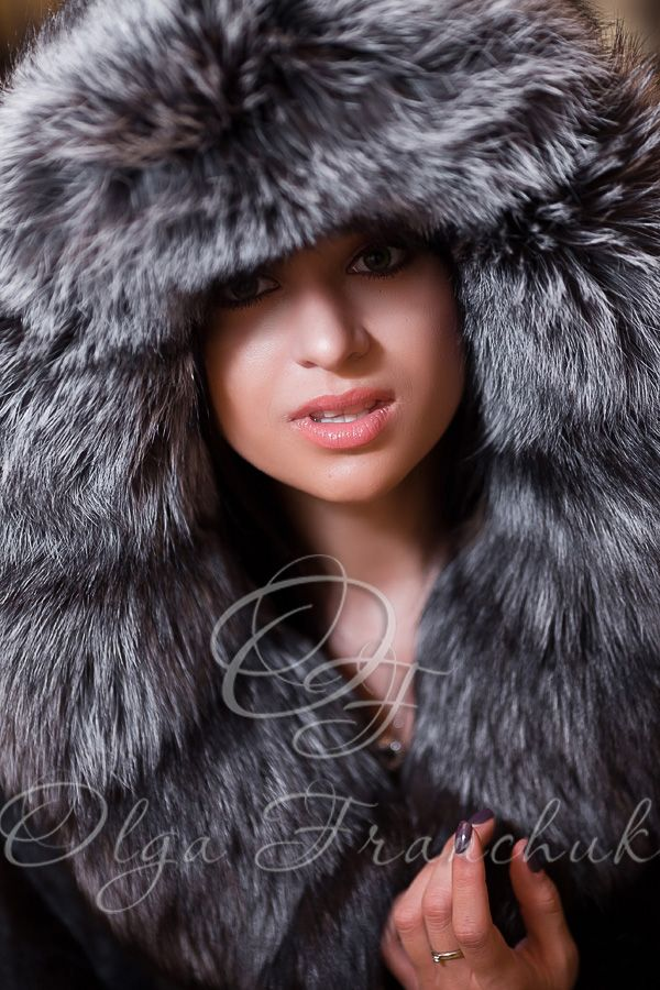 Black Scandinavian Mink Coat with a Hood of Silverfox - Style 01-6 from Olga Franchuk.