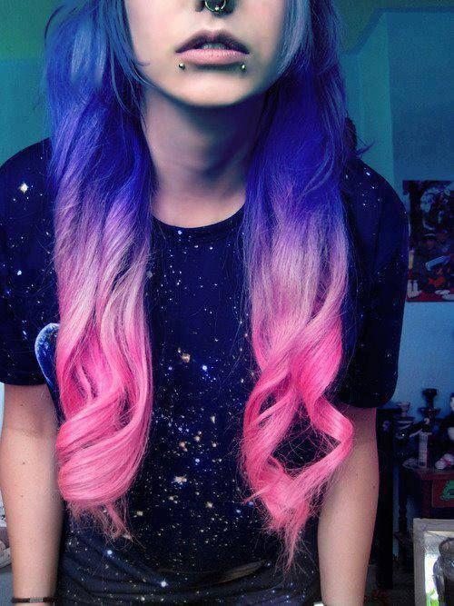 Rosa Purple Azul Cabello Galático Color De Pelo Pelo De Color Cabello Hermoso