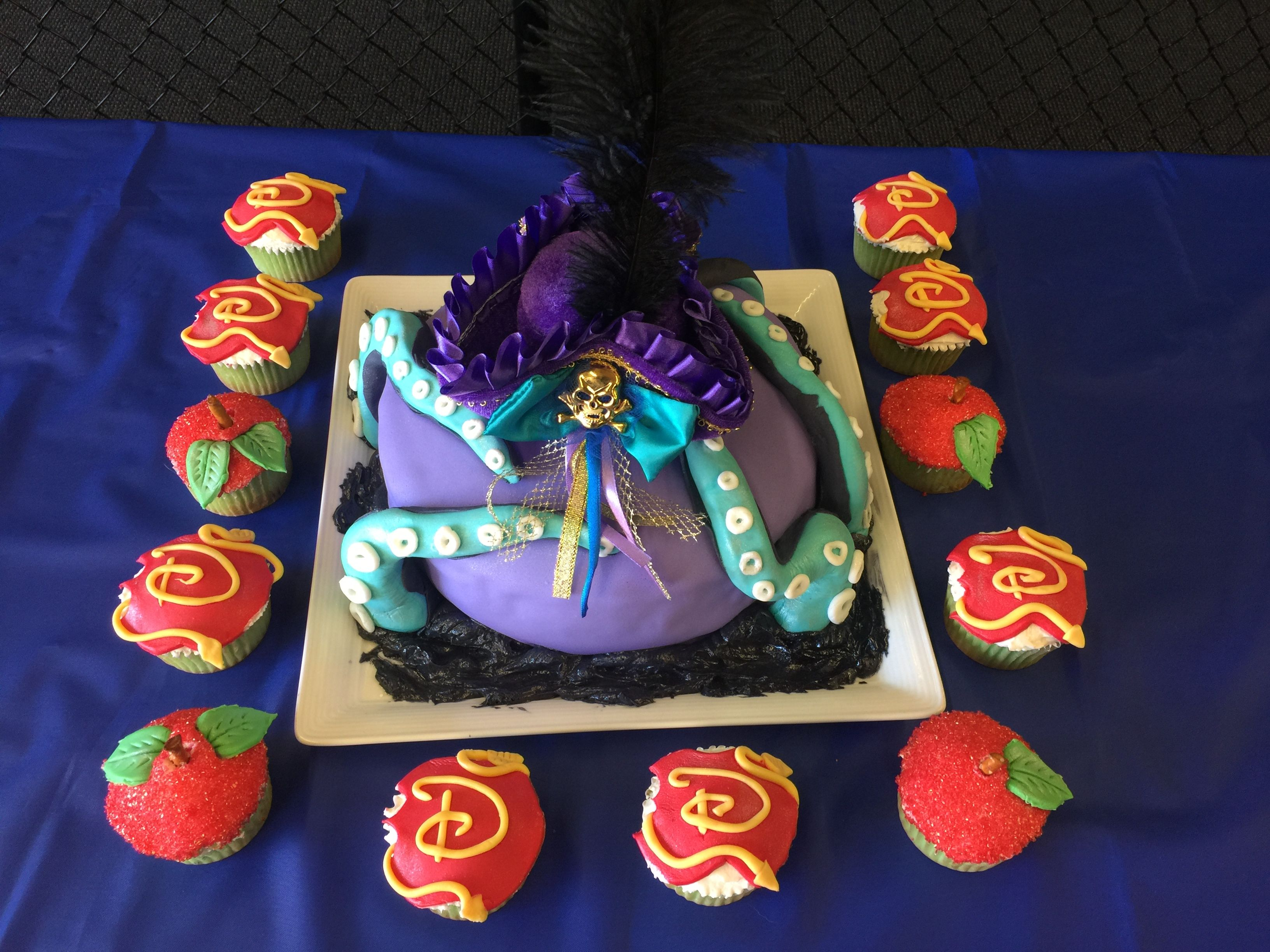 uma descendants 2 cake with logo cupcakes and apple
