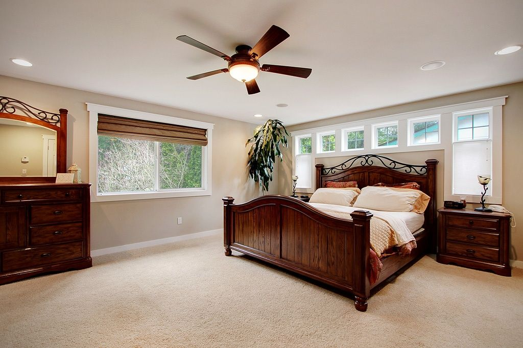 Traditional Master Bedroom with Ceiling fan, Hunter Fans