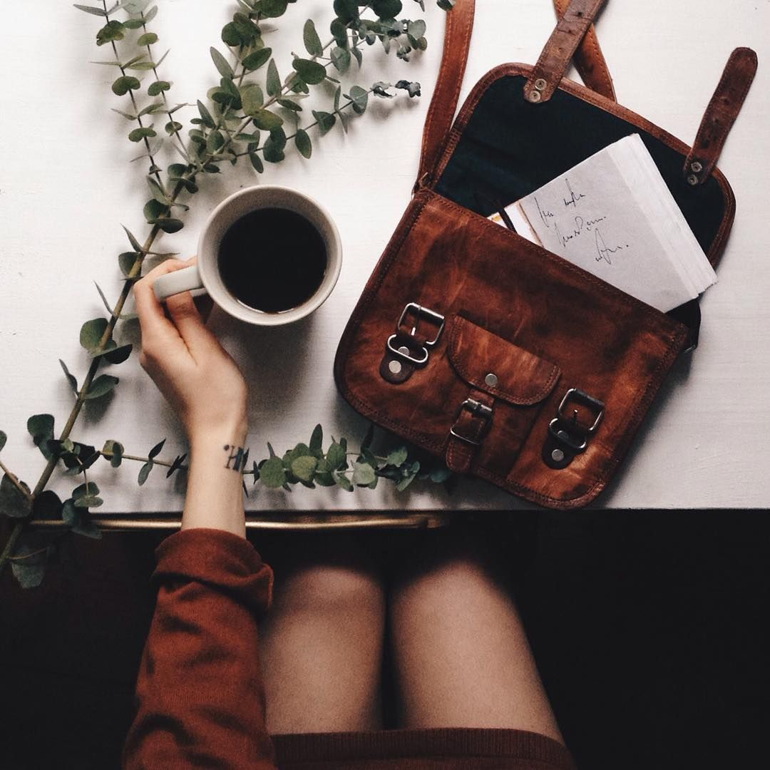 Leather bag and coffee