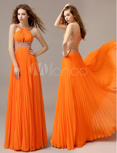 Milanoo Coupons: Orange Chiffon A-line Draped Prom Dress with Halter ...