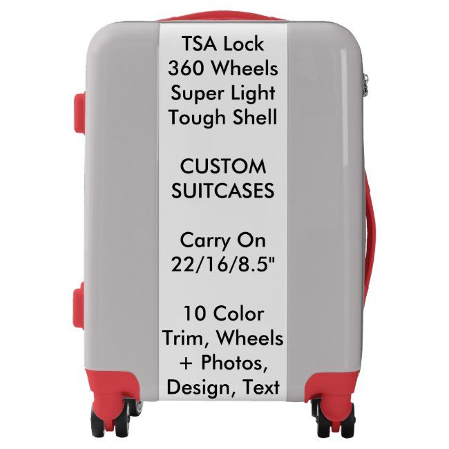 Custom Suitcase - SILVER Carry On w/ RED Trim #custom #personalized #personalised #suitcases #suitcase #luggage #suitcases #suitcase #personalise #zazzleproducts #baggage