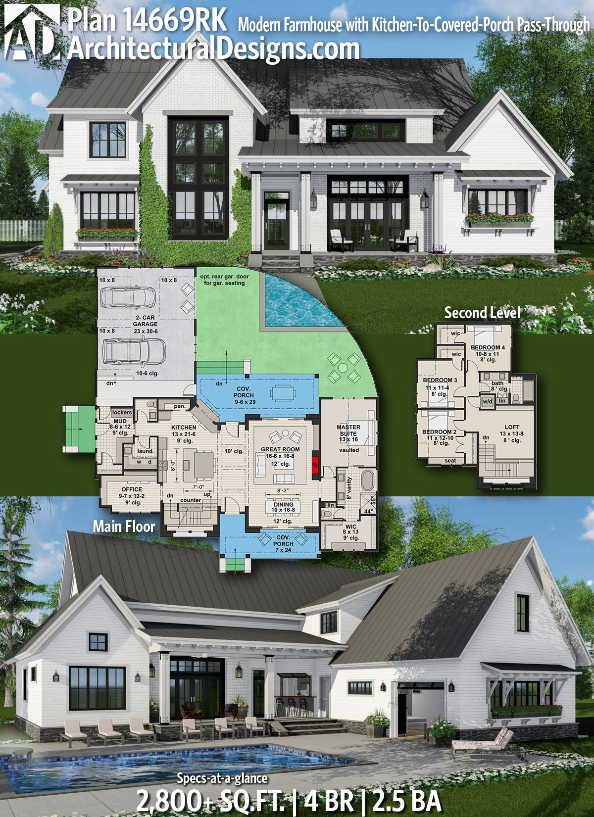 Plan 14669rk Modern Farmhouse With Kitchen To Covered