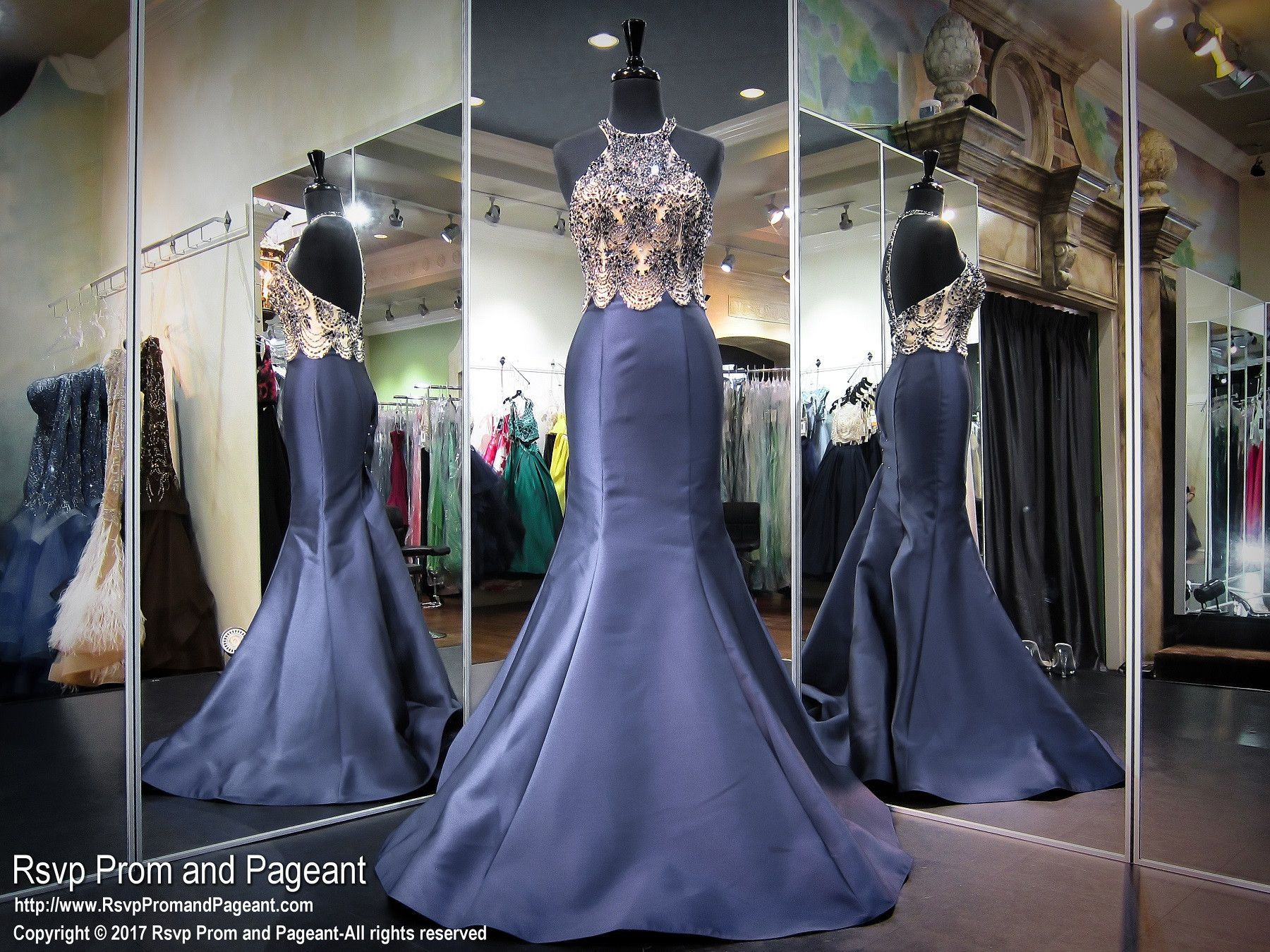 Navy beaded halter mermaid prom dress prom and pageant dresses