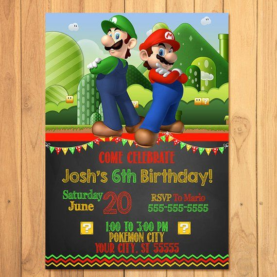 Super Mario Brothers Invitation Chalkboard Super Mario Brothers