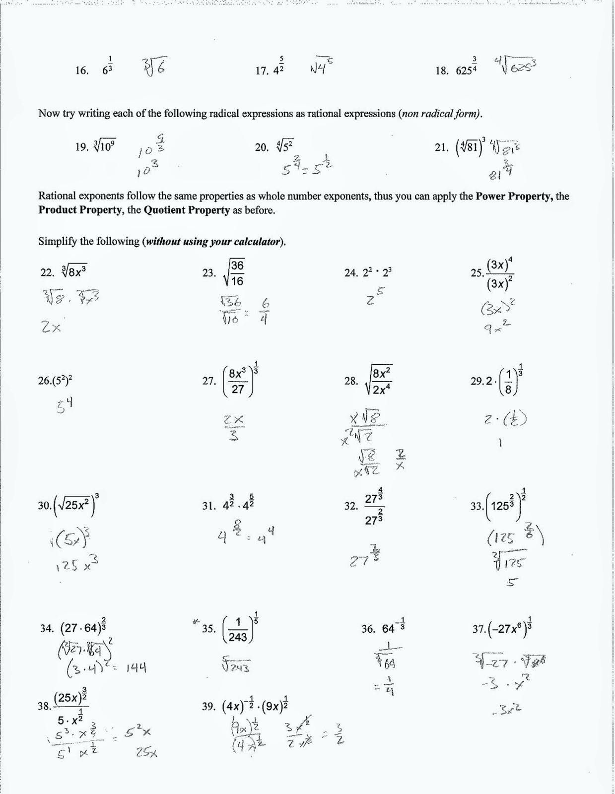 Geometry Simplifying Radicals Math Algebra 2 Simplifying