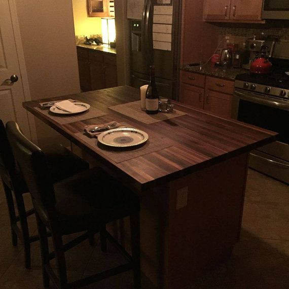 1 1 2x 36 X 60 Forever Joint Walnut Butcher Kitchen Island Makeover Cheap Countertops Diy Countertops