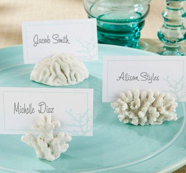 Food Label Holders White Coral Place Card Holders Partycity