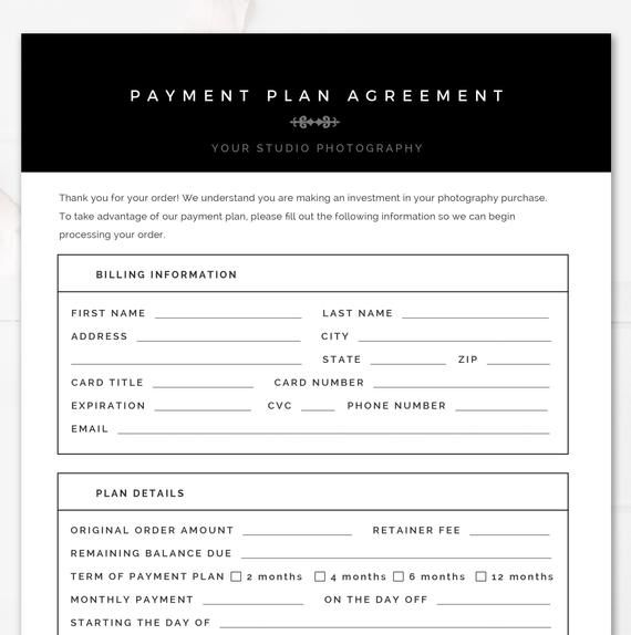 Modern Black & White Photography Payment Plan Form