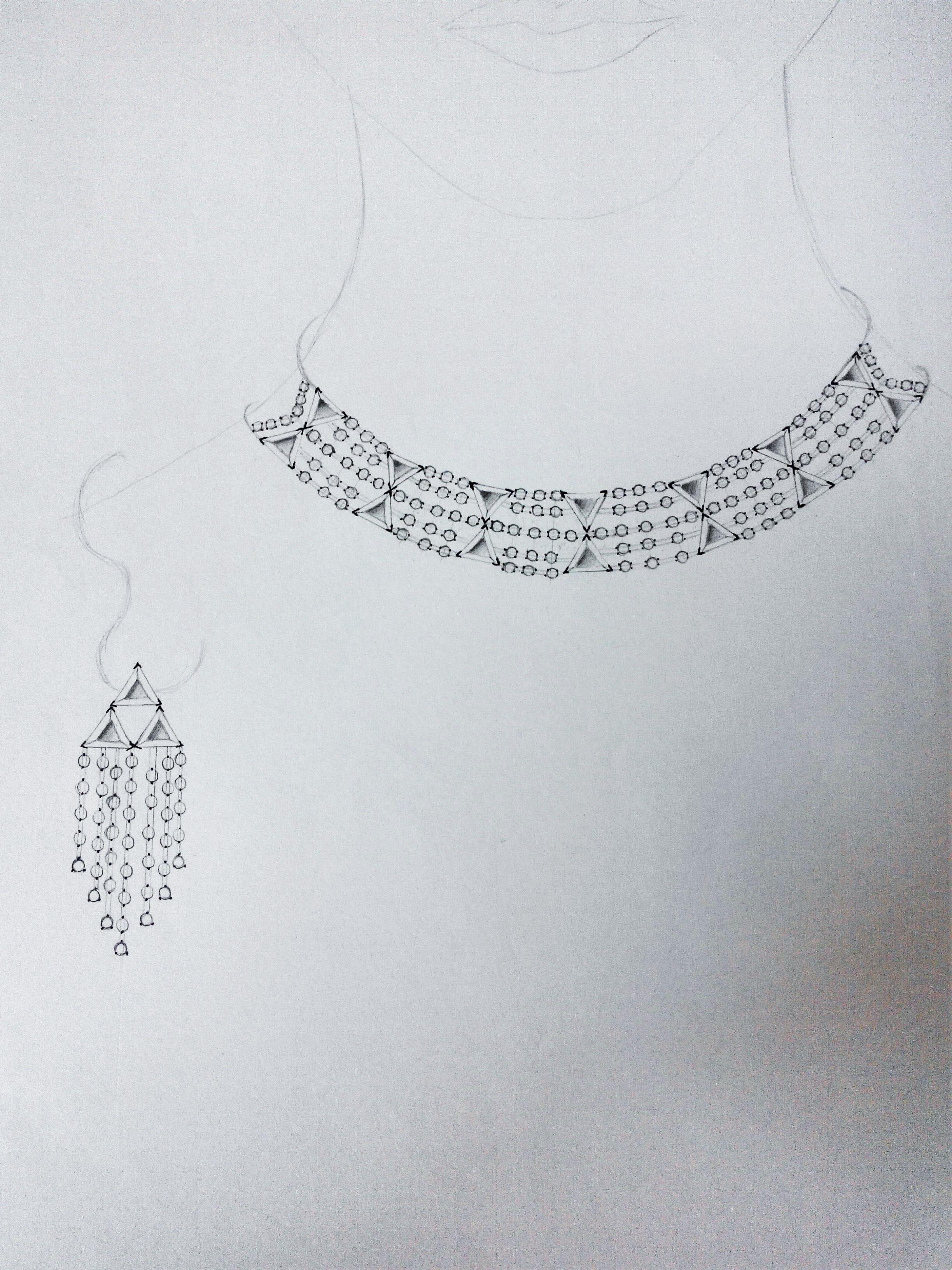 Jewelry design pencil sketch necklace