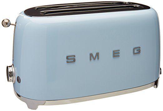 Smeg TSF02PBUS 50's Retro Style Aesthetic 4 Slice Toaster, Pastel Blue Price: $199.95