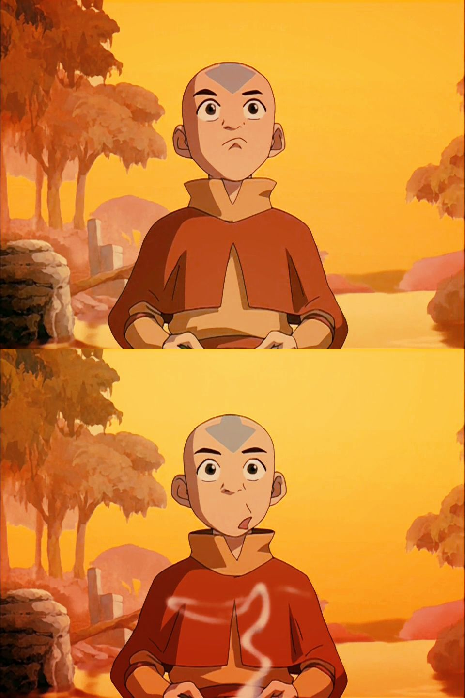 Aang, learning to breathe..