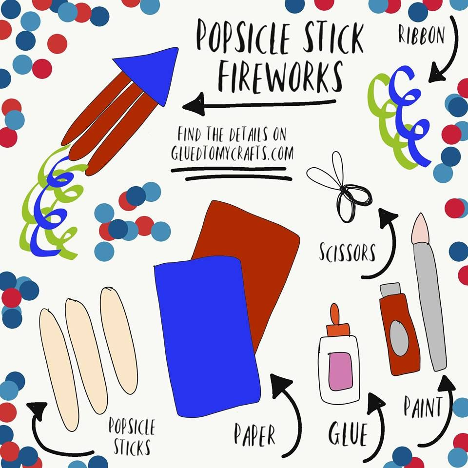 Popsicle Stick Fireworks - Kid Craft | Glued To My Crafts