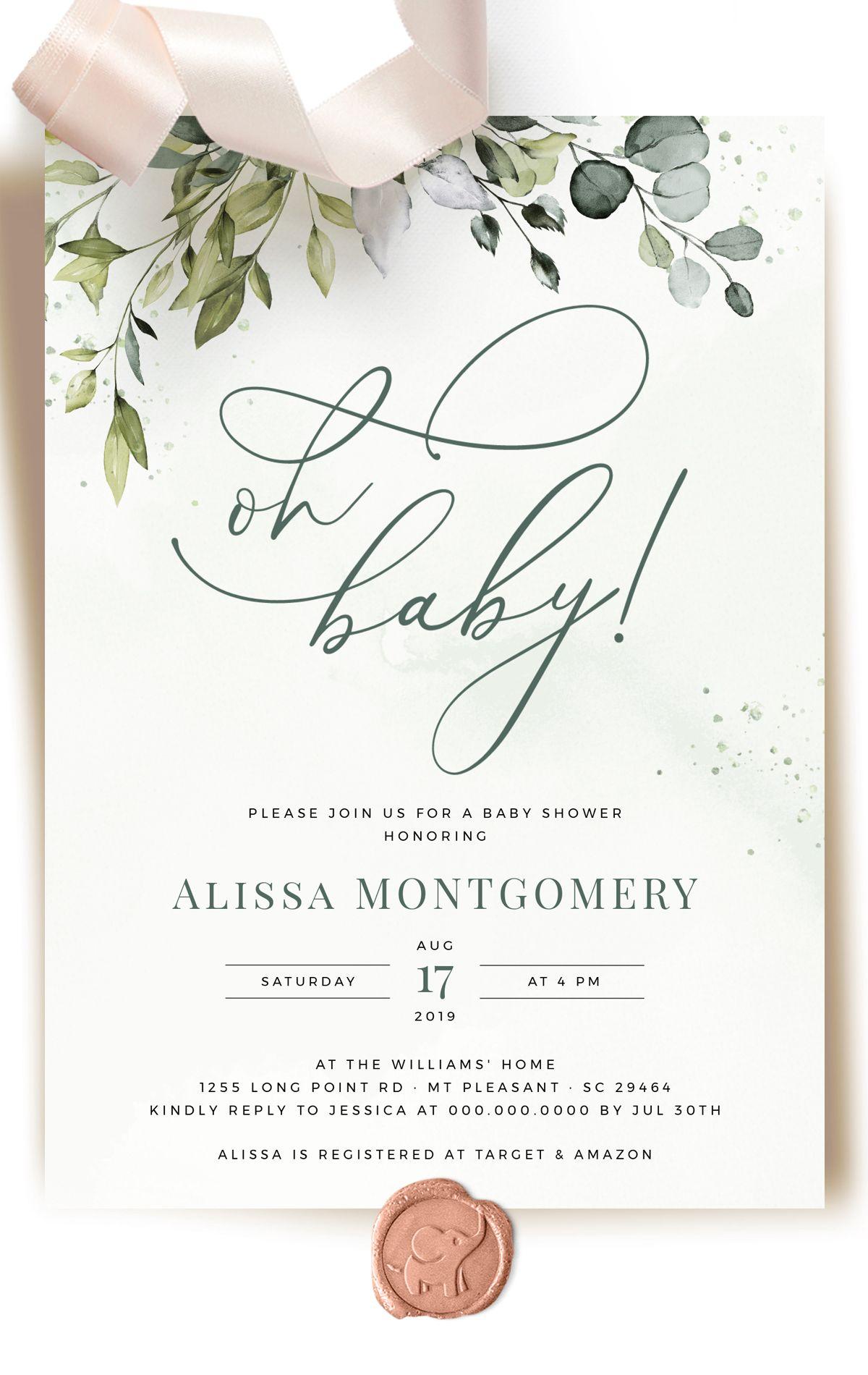 Greenery Baby Shower Invitation Bundle Eucalyptus