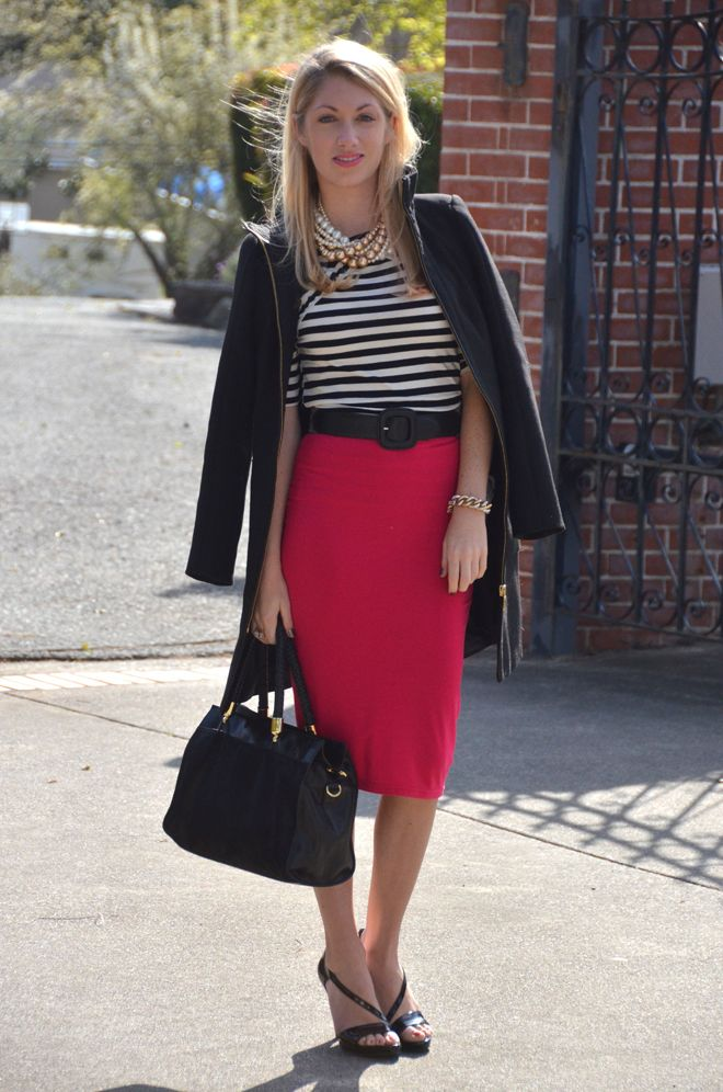 1990cb2ba099 black + white striped top, fuchsia pencil skirt, black belt, black sandal  heels ... Beautiful!!!