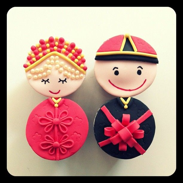 Traditional Chinese Wedding Couple Cup Cake! Nice