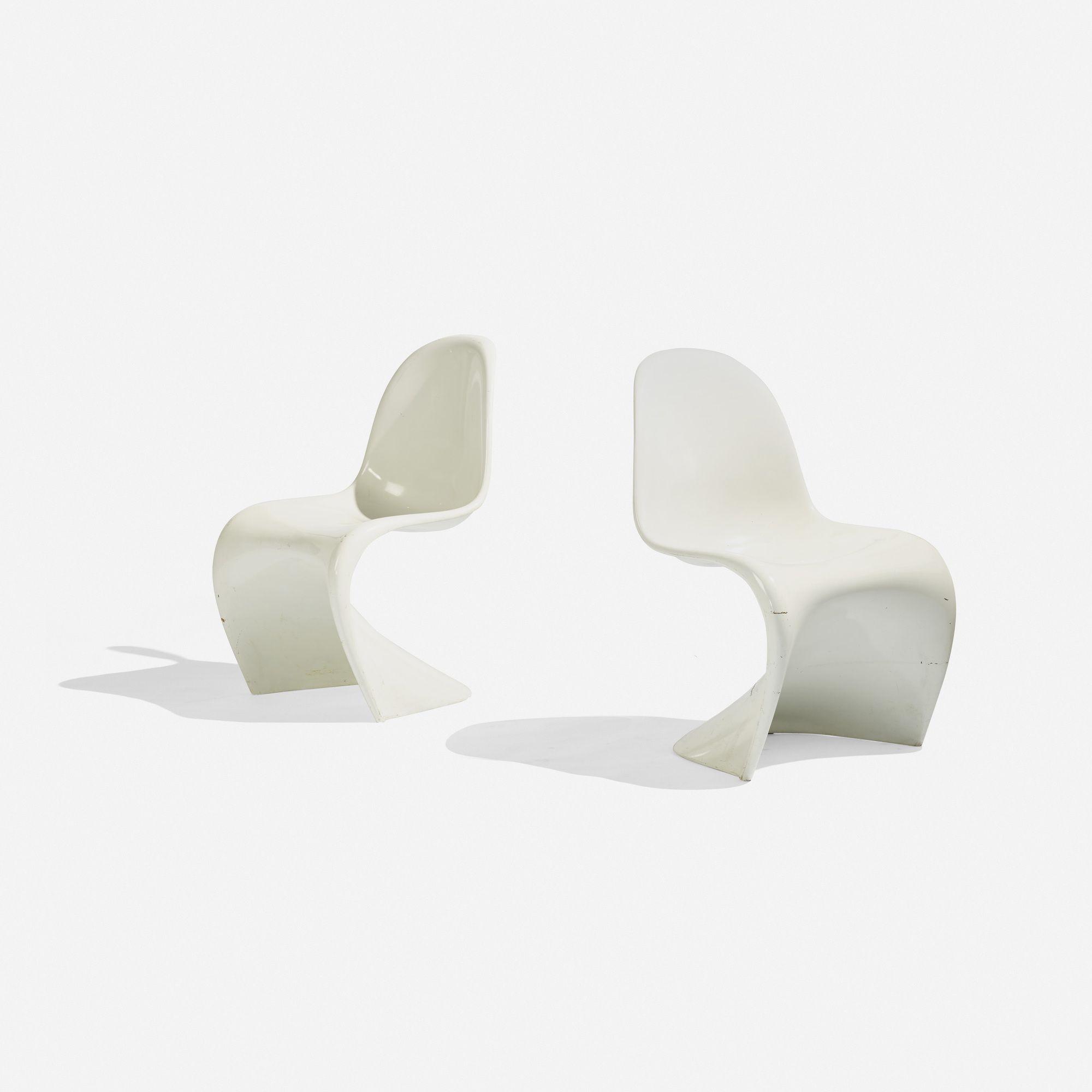 Lot 246: Verner Panton. Panton chairs, pair. 1967, molded fiberglass ...