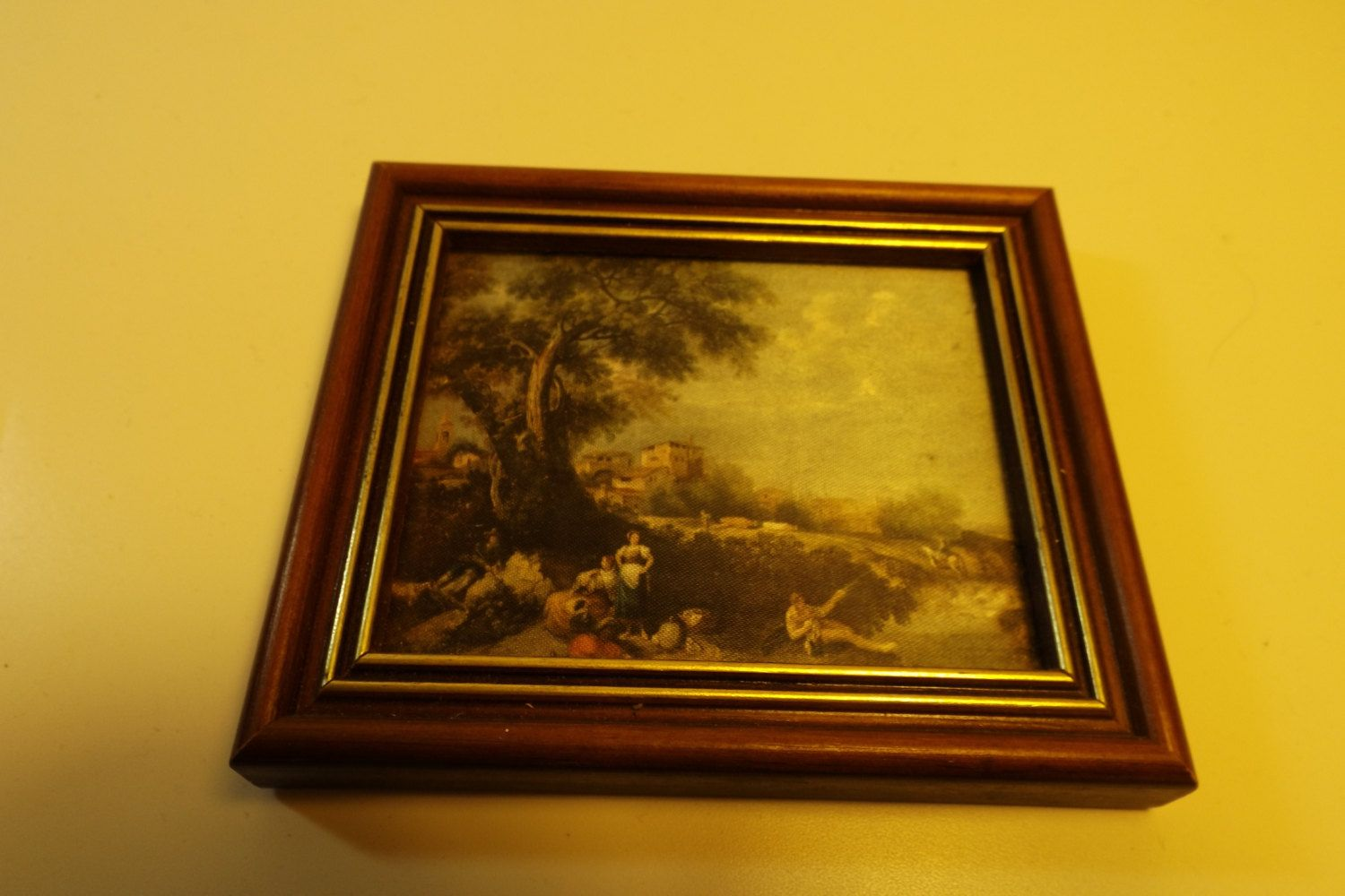 Italian Miniature artistic chromolithograph on silk with frame of ...