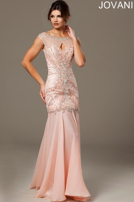 Pink Beaded Evening Dress 11837. Stunning cap sleeve beaded ...