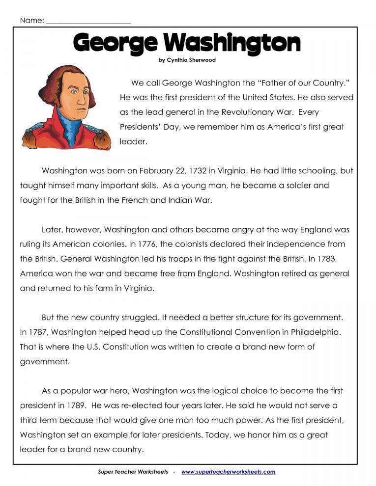 8 George Washington Reading With Worksheet Reading In 2020