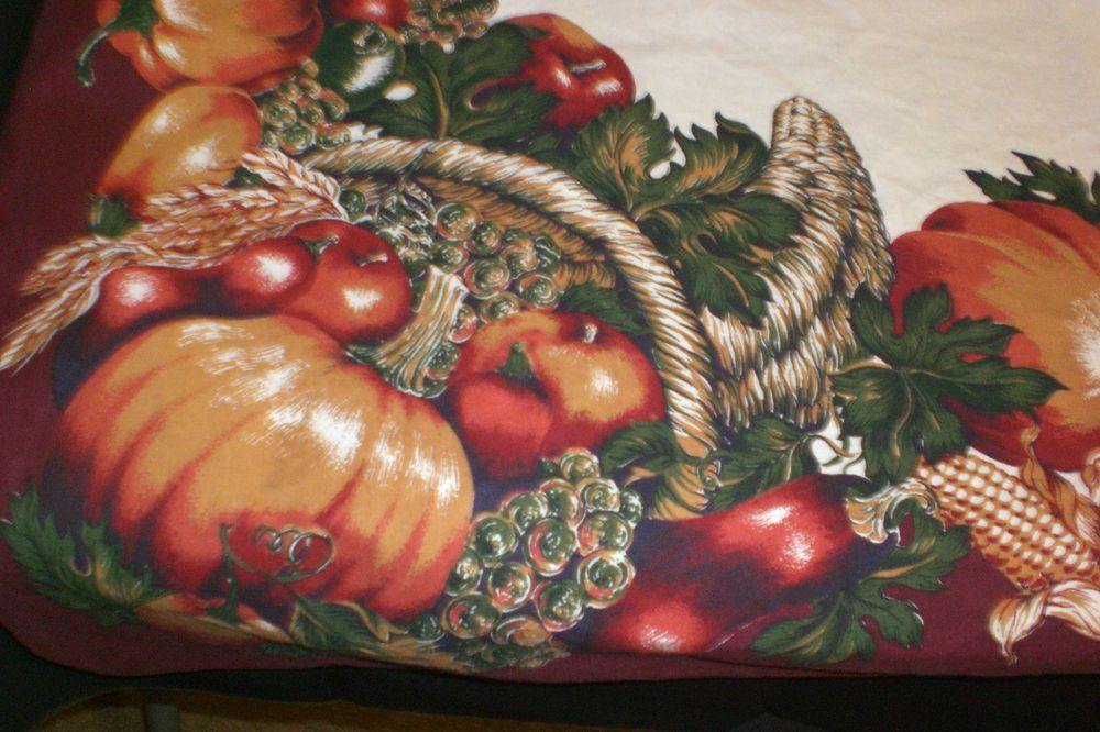 Fall Thanksgiving Tablecloth Wheat Corn Pumpkins Rectangular