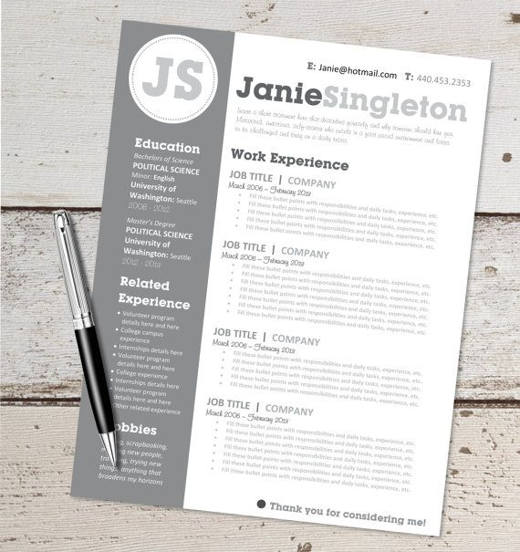 This Is For An Instant Download Word Document Editable Resume