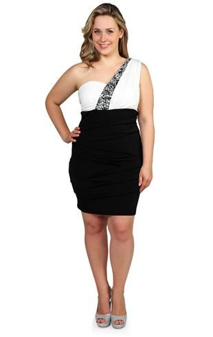 Plus Size Club Dress With One Shoulder Rhinestone Embellished Strap