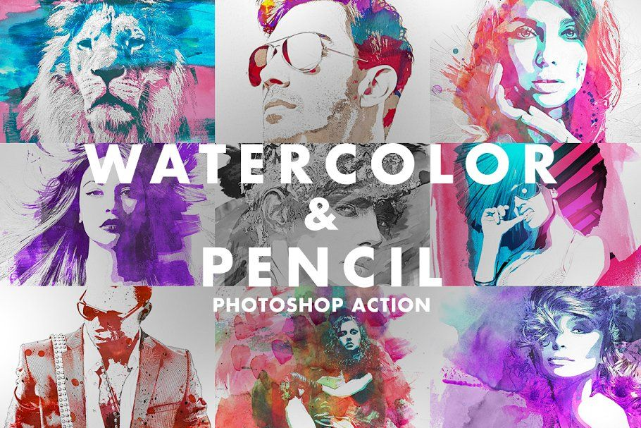 Watercolor Pencil Photoshop Action Photoshop Actions