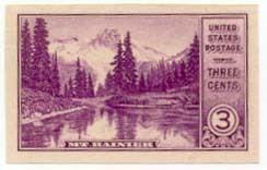 1935 3c Rainier, Imperforate Single Stamp issued without gum Scott 758 Mint LH  www.saratogatrading.com