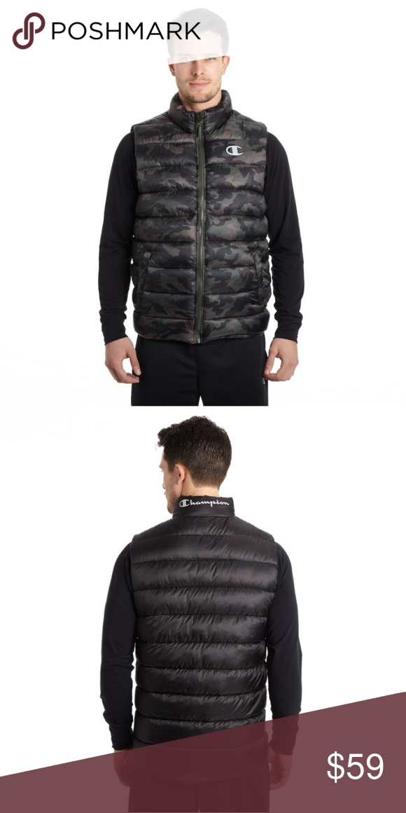 930177f3e944 Champion Quilted Camo Print Midweight Puffer Vest Outdoor adventures await  in this stylish and comfortable men s