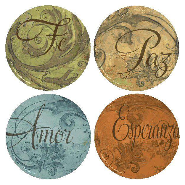 Fe-Paz-Amor-Esperanza Round Coasters by Patricia Pinto, Set of 8