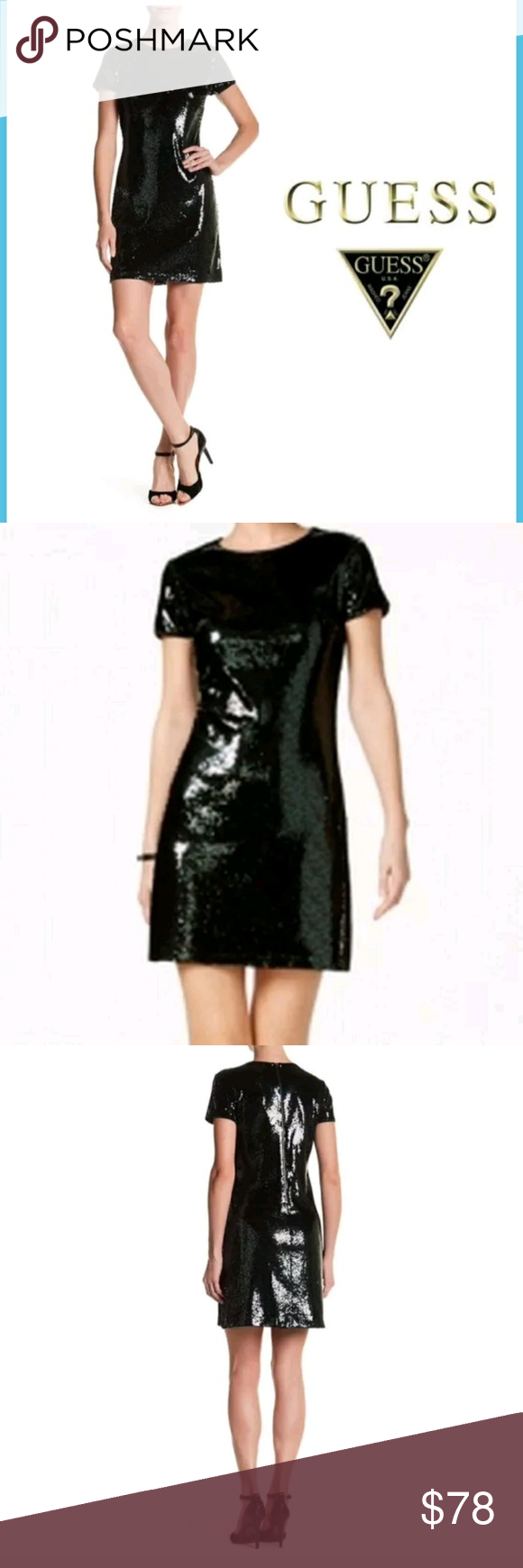 NWT Guess Sequins Short Sleeve Cocktail Dress. NWT | Guess dress ...