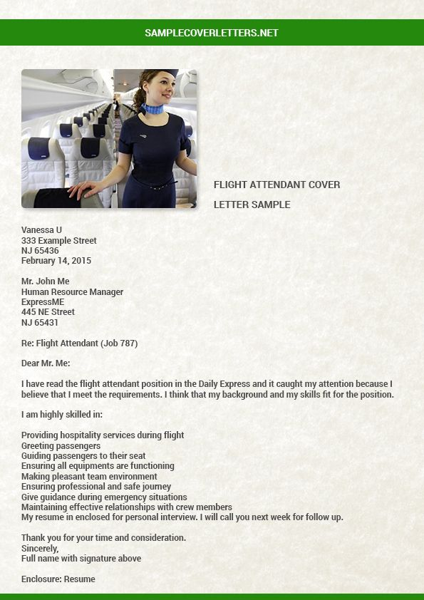 Flight Attendant Cover Letter Sample Cover Letter Sample Flight