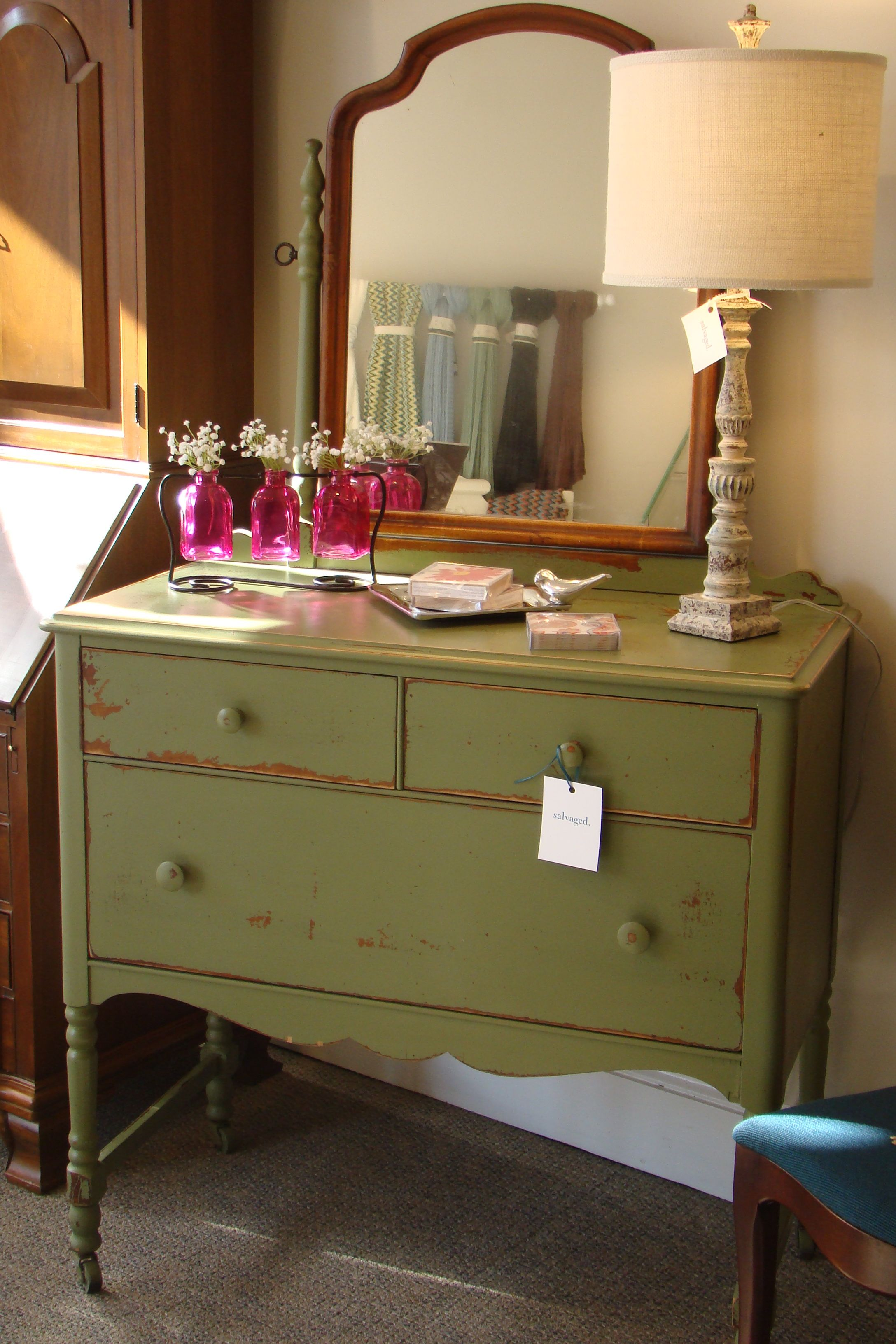 distressed furniture ideas. Love This Pretty Green/distressed Dresser. Distressed Furniture Ideas D