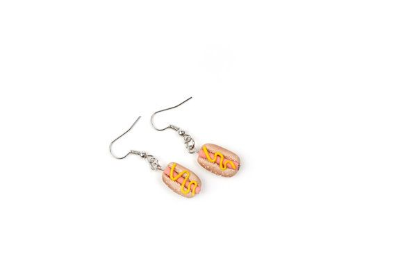 Realistic hot dog earrings-Miniature food by Beesnsun on Etsy