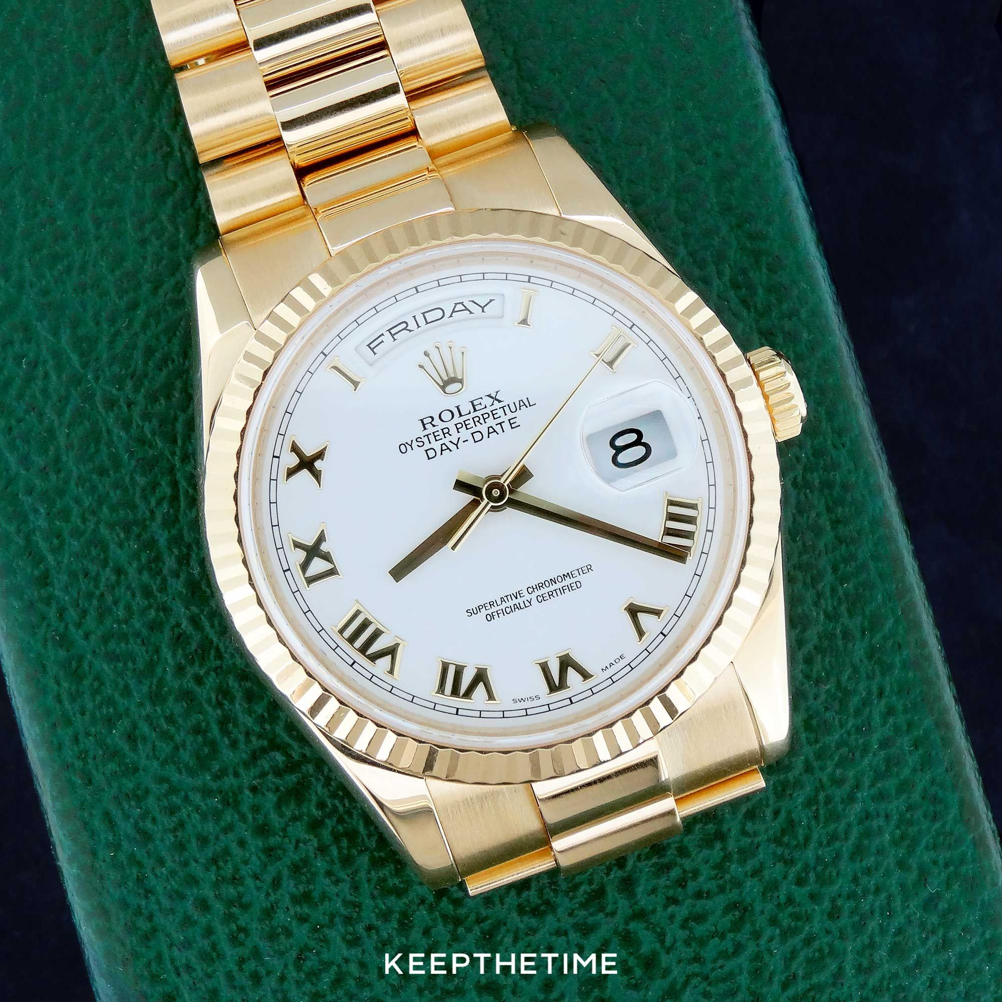 0d214f9c41c Rolex 118238 Day-Date President White Dial