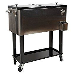 HIO 80 Qt Outdoor Patio Cooler Table On Wheels Rolling Cooler With Shelf stainless steel with a black lid  sc 1 st  Pinterest & HIO 80 Qt Outdoor Patio Cooler Table On Wheels Rolling Cooler With ...