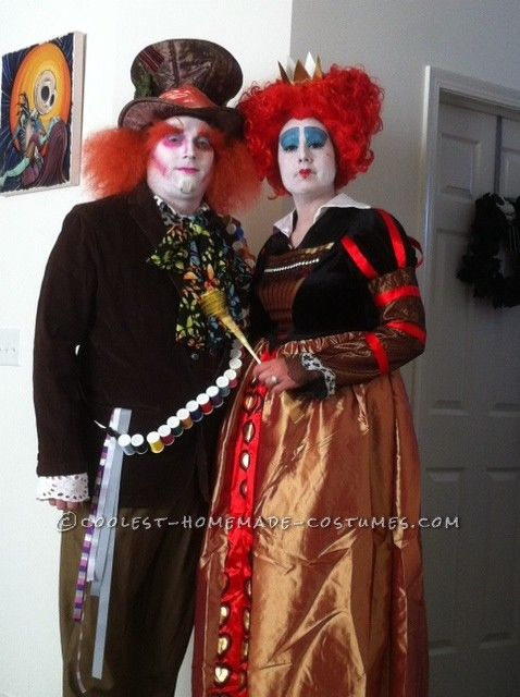 a6927d2b7e4 Coolest Red Queen and Mad Hatter Couple Costume | Coolest Homemade ...