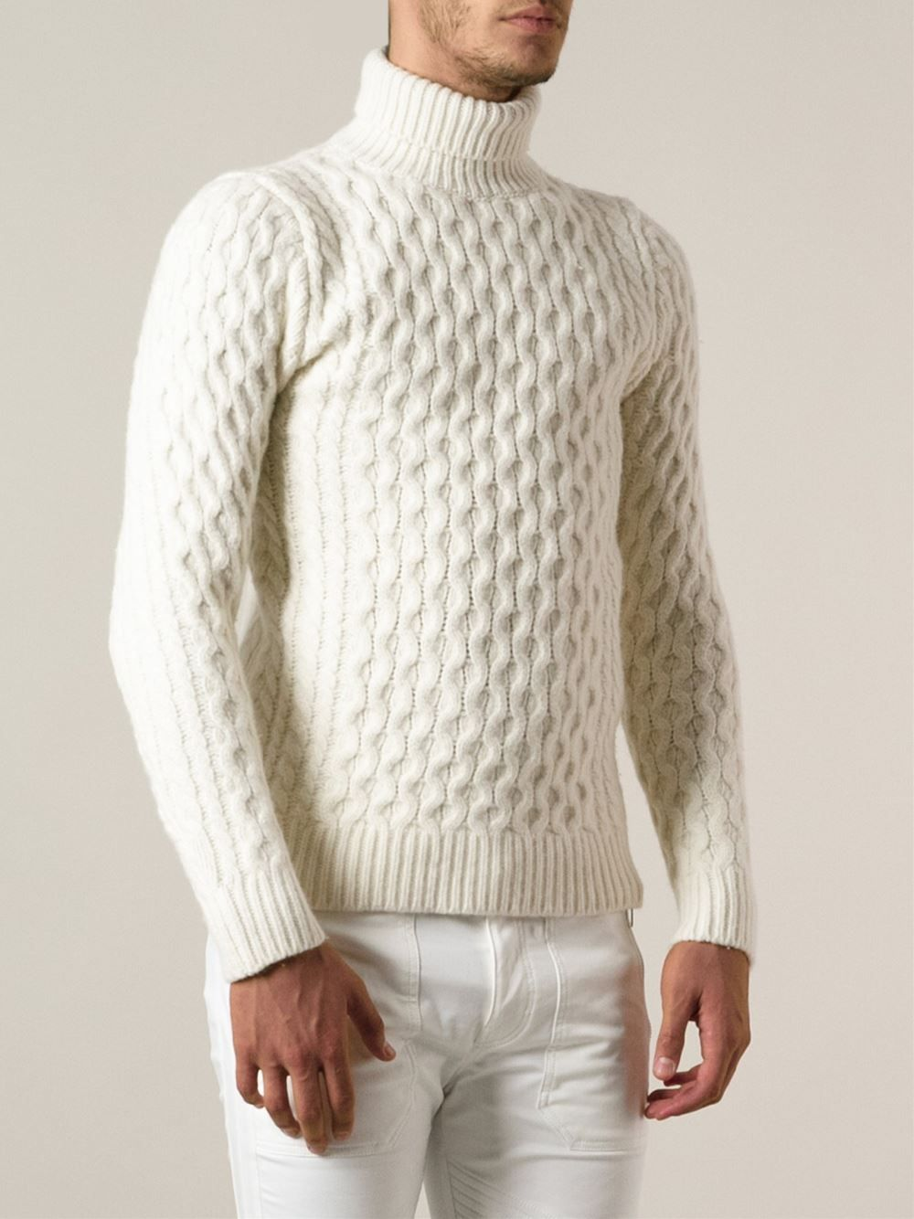 Polo Neck, Knitting Designs, Cable Knit, Turtle Neck, Men s Knitwear, White f1a5e0c11c62
