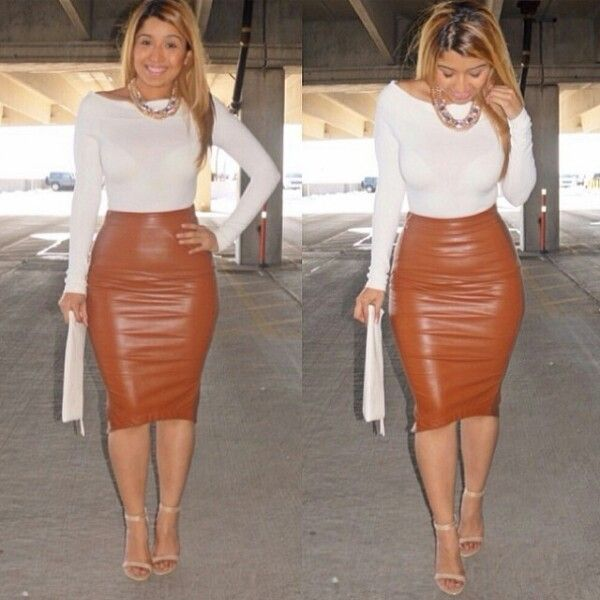 Leather brown skirt look | Brown Outfits | Pinterest | Leather ...