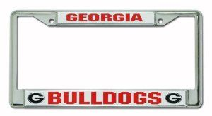 NCAA Georgia Bulldogs Chrome License Plate Frame by Rico. $12.30. Easy to mount around just about any license plate. Zinc metal frame resistant to the elements. Chrome license plate frame with team name and logo. NCAA Georgia Bulldogs Chrome Frame